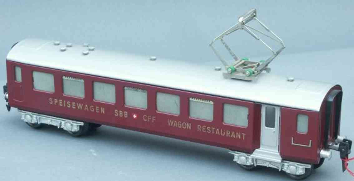 hag 815 railway toy passenger car dining car sbb+cff wagon restaurant; 4-axis, in red and silv