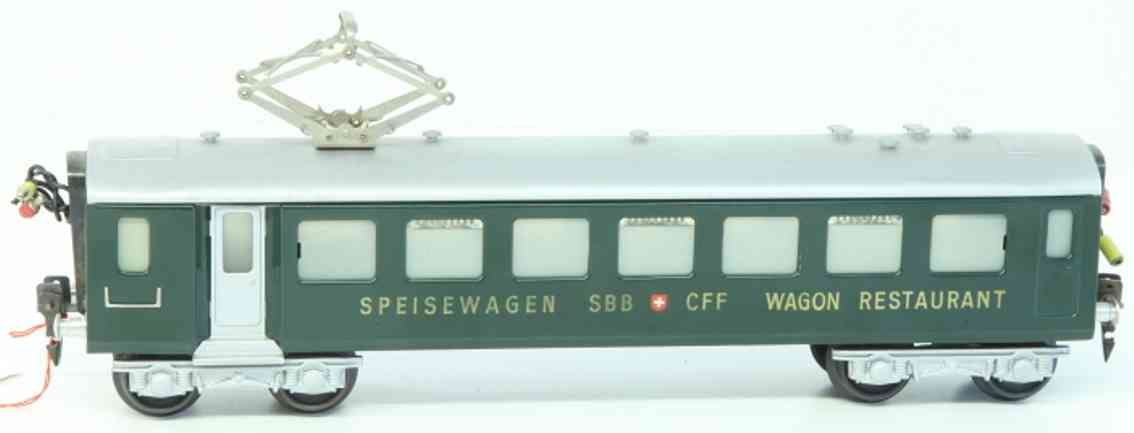 hag 816 (1953) railway toy passenger car easy express train dining car; 4-axis; in green and silvery;