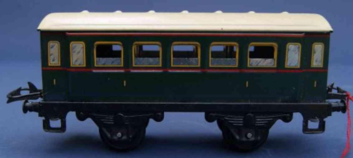 hornby 1 S spielzeug eisenbahn personenwagen personenwagen; 2-achsig, in grün und beige