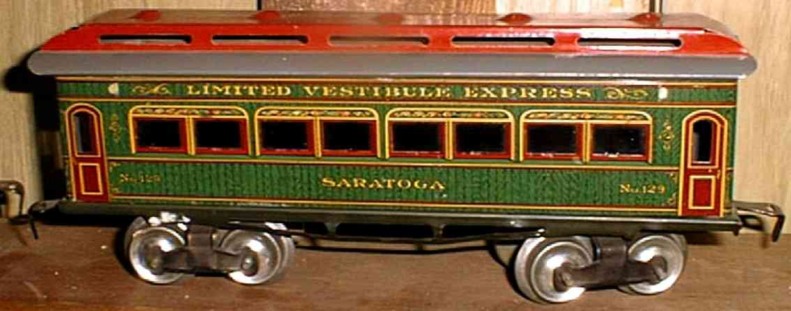 ives 129 1910 philadelphia spielzeug eisenbahn personenwagen rot gruen spur 0