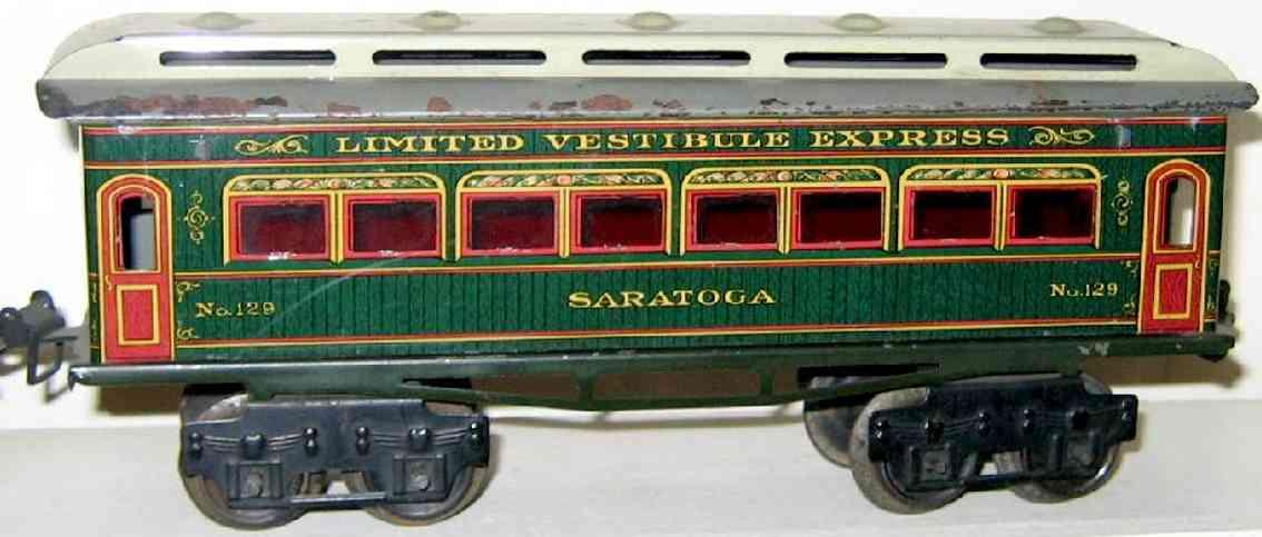 ives 129 1912 saratoga spielzeug eisenbahn personenwagen rot gruen spur 0