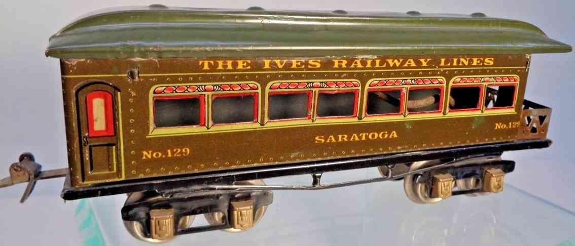 ives 129 1925 saratoga spielzeug eisenbahn aussichtswagen dunkel oliv rot spur 0