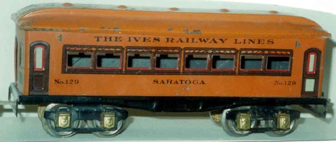 ives 129 1930 saratoga spielzeug eisenbahn personenwagen orange spur 0