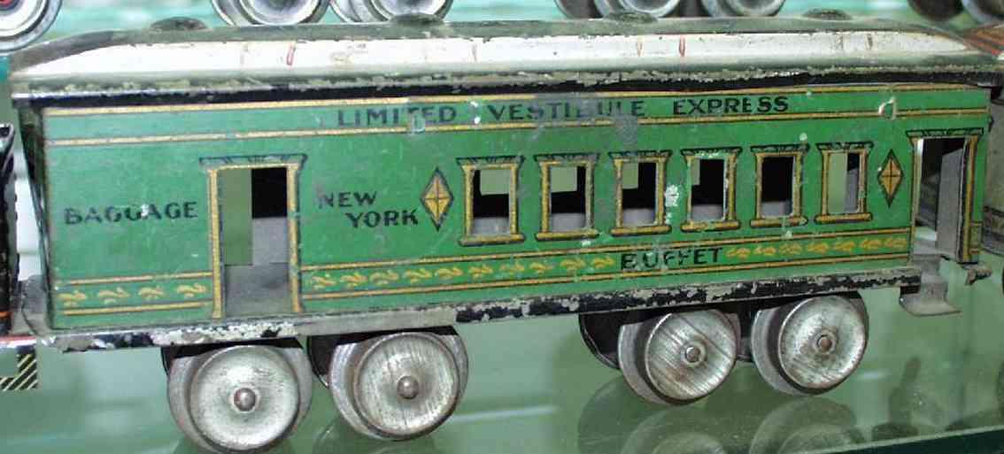 ives 130 1904 buffet spielzeug eisenbahn speisewagen gepaeckwagen gruen spur 0