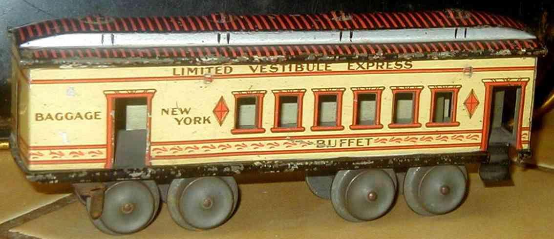 ives 130 1904 buffet spielzeug eisenbahn personenwagen creme gelb spur 0