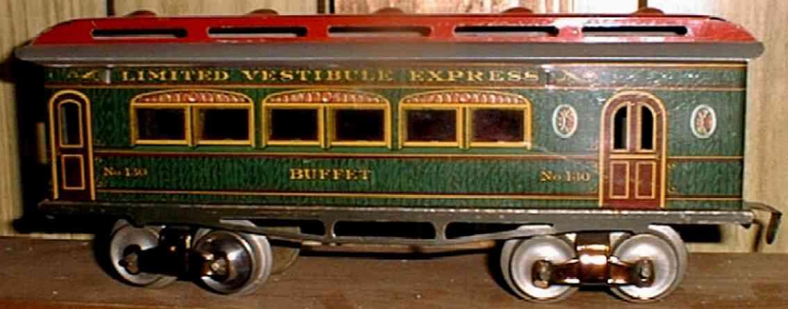 ives 130 1910 buffet spielzeug eisenbahn personenwagen holz gruen spur 0