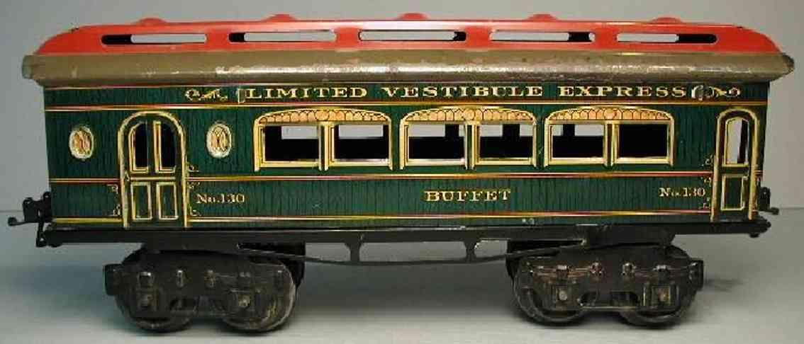 ives 130 1914 buffet spielzeug eisenbahn personenwagen holz gruen spur 0