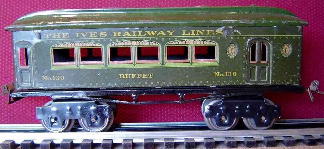 ives 130 1918 buffet spielzeug eisenbahn personenwagen stahlartig gruen spur 0