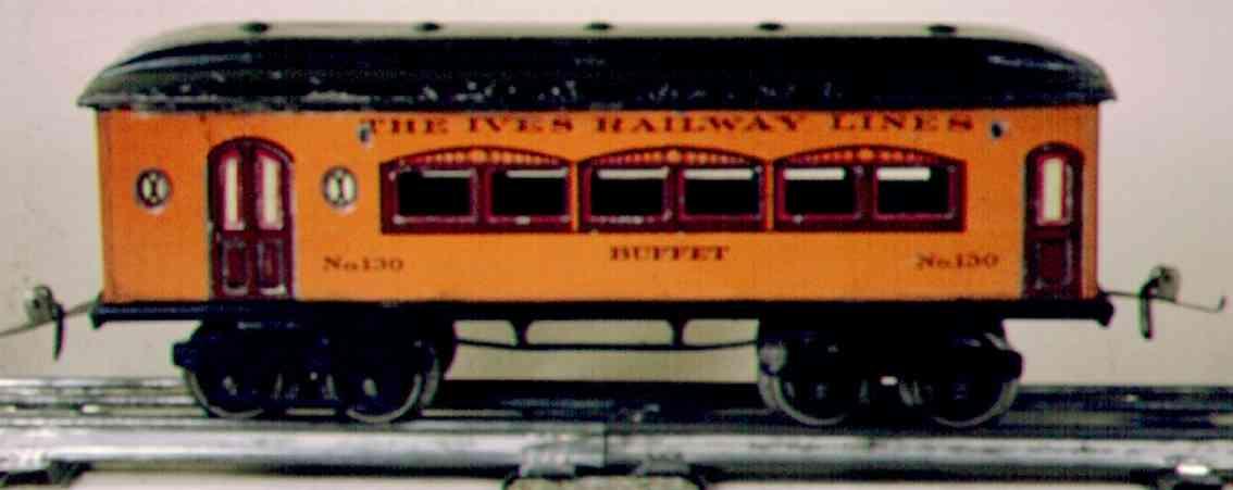 ives 130 1923 buffet spielzeug eisenbahn personenwage orange spur 0