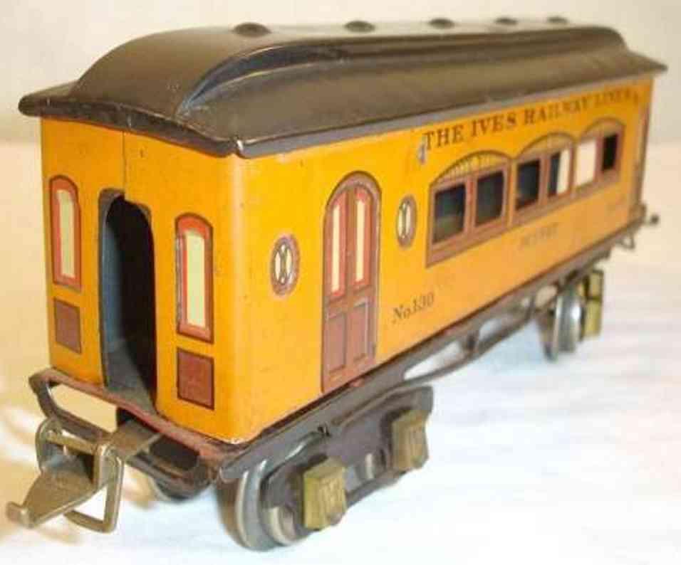 ives 130 1925 buffet spielzeug eisenbahn personenwagen orange gruen spur 0