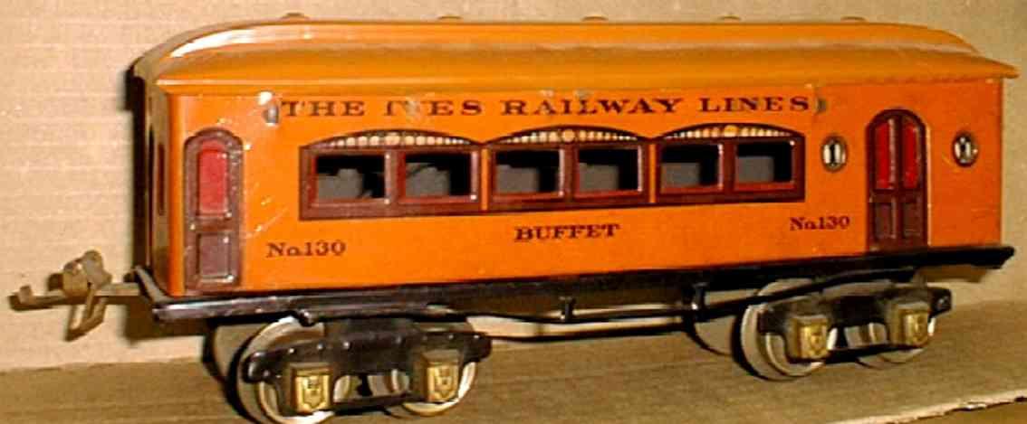 ives 130 1925 buffet pielzeug eisenbahn personenwagen orange spur 0