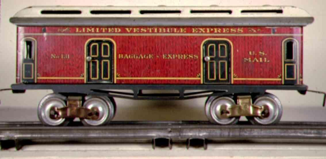 ives 131 1910 spielzeug eisenbahn gepaeckwagen rot gruen spur 0