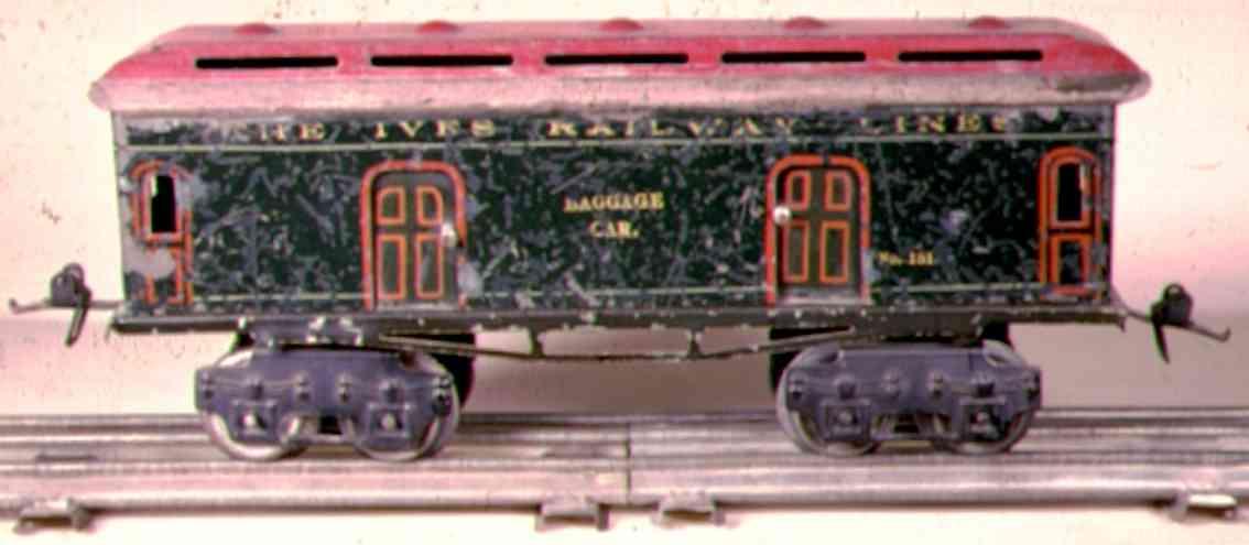 ives 131 1912 spielzeug eisenbahn gepaeckwagen gruen rot spur 0