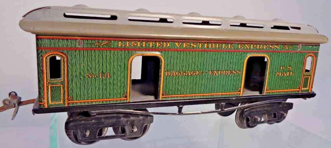 ives 131 1912 chicago railway toy baggage car red green gauge 0