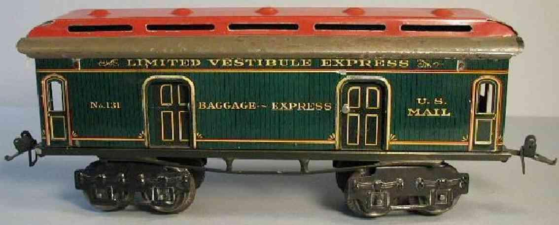 ives 131 1914 spielzeug eisenbahn gepaeckwagen rot gruen spur 0