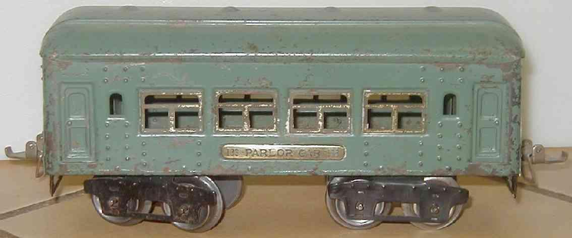 ives 133 (1928) spielzeug eisenbahn personenwagen personenwagen; 4-achsig;  hellblau lithografiert mit nieten,