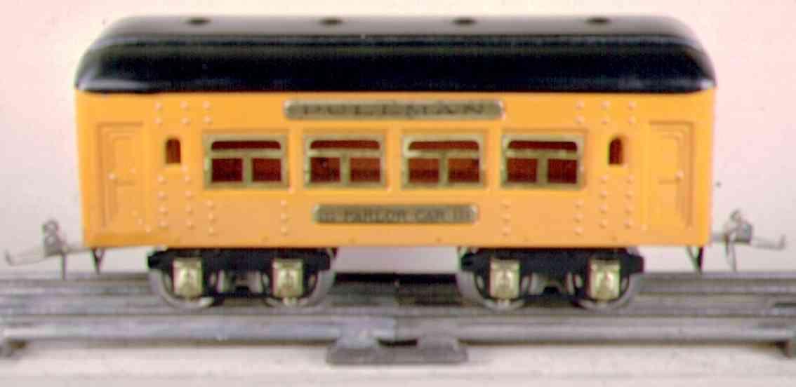 ives 133 (1929) spielzeug eisenbahn personenwagen personenwagen; 4-achsig;  hell oder dunkel orangefarben lith