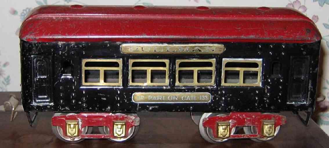 ives 133 (1930) spielzeug eisenbahn personenwagen personenwagen; 4-achsig;  lithografiert mit nieten, dach mit