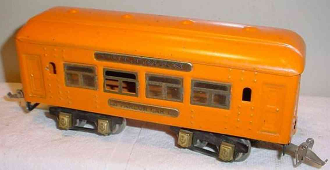ives 133 (1928) spielzeug eisenbahn personenwagen personenwagen; 4-achsig;  orangefarben lithografiert mit nie