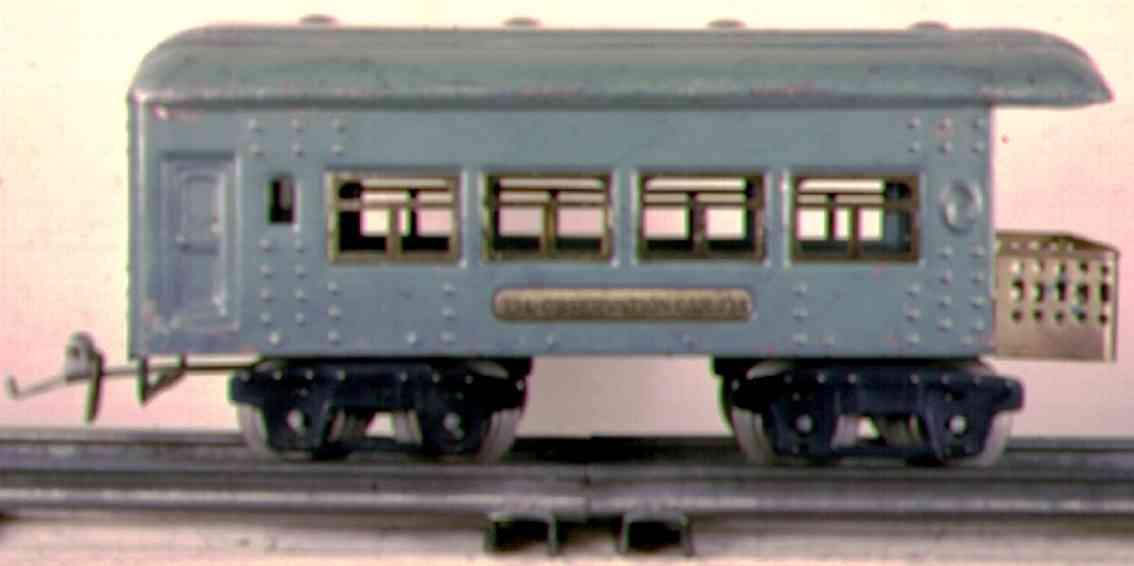 ives 134 (1928) spielzeug eisenbahn personenwagen personenwagen; 4-achsig; hellblau lithografiert mit nieten,