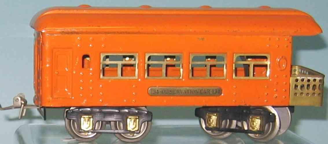 ives 134 (1929) spielzeug eisenbahn personenwagen personenwagen; 4-achsig; hellorange lithografiert mit nieten