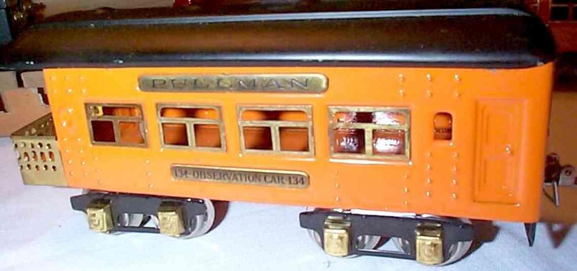 ives 134 (1929) spielzeug eisenbahn personenwagen personenwagen; 4-achsig; hell oder dunkel orange lithografie