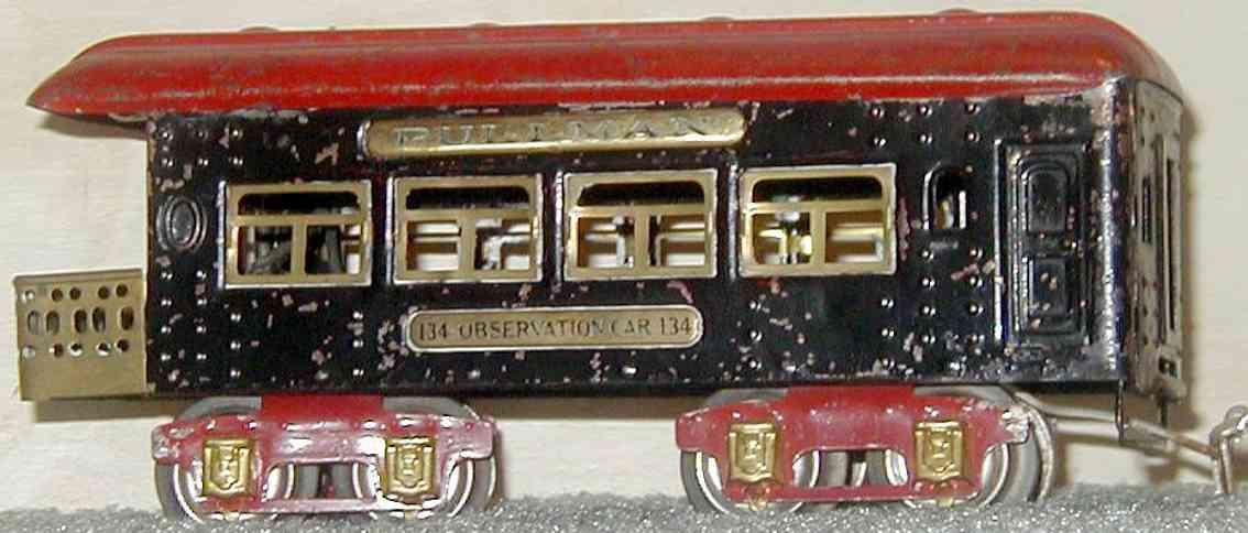 ives 134 (1930) spielzeug eisenbahn personenwagen personenwagen; 4-achsig;  lithografiert mit nieten, dach mit