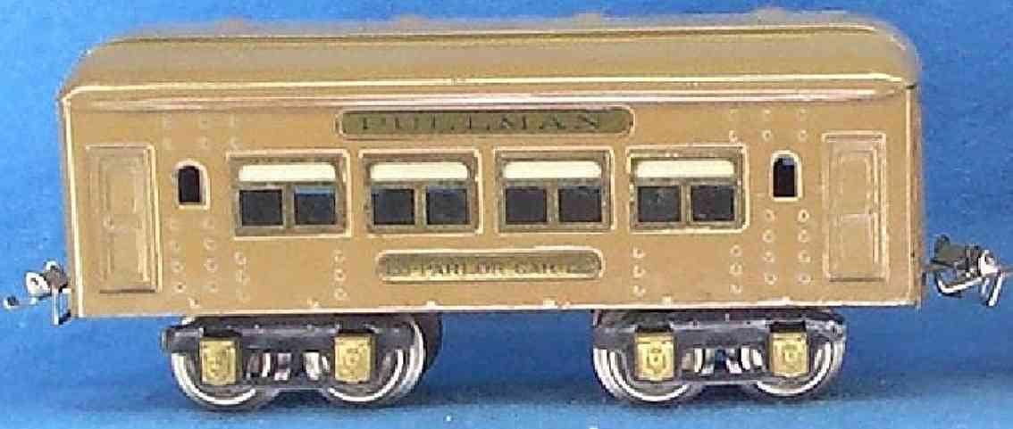 ives 135 (1926) spielzeug eisenbahn personenwagen personenwagen; 4-achsig; hellbraun lithografiert mit nieten,