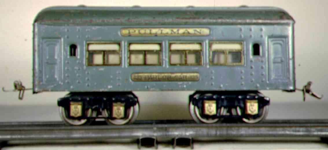 ives 135 (1927) spielzeug eisenbahn personenwagen personenwagen; 4-achsig; hellblau lithografiert mit nieten,