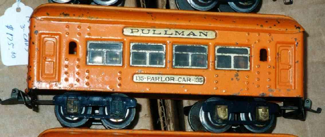 ives 135 (1928) spielzeug eisenbahn personenwagen personenwagen; 4-achsig; orange lithografiert mit nieten, da