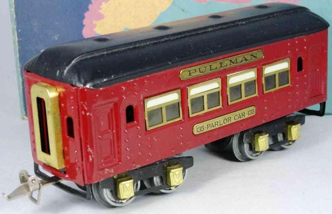 ives 135 (1929) spielzeug eisenbahn personenwagen personenwagen; 4-achsig; rot lithografiert mit nieten, schwa