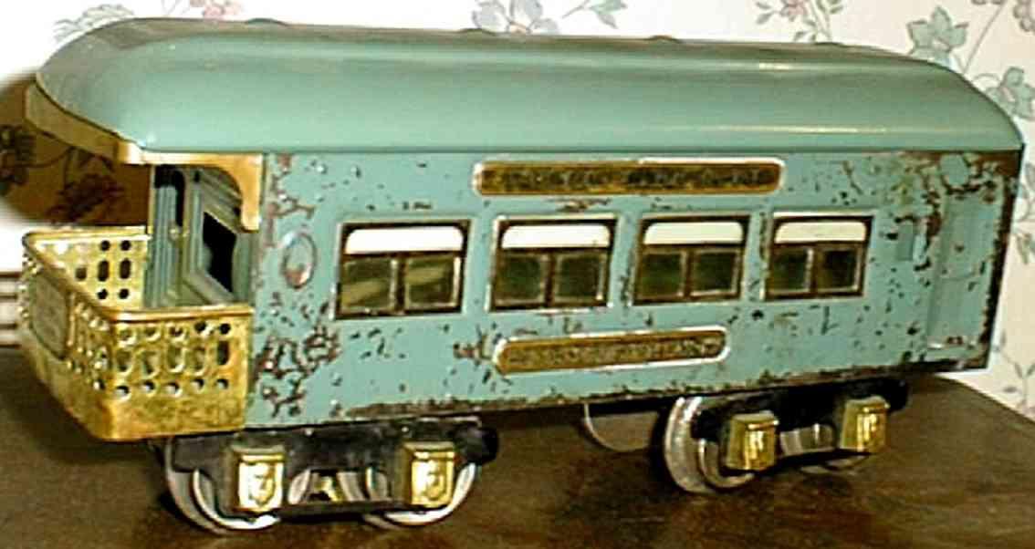 ives 136 spielzeug eisenbahn personenwagen aussichtswagen blau spur 0