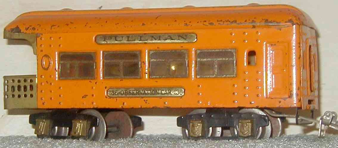 ives 136 (1928) spielzeug eisenbahn personenwagen personenwagen; 4-achsig; hell orangefarben lithografiert mit
