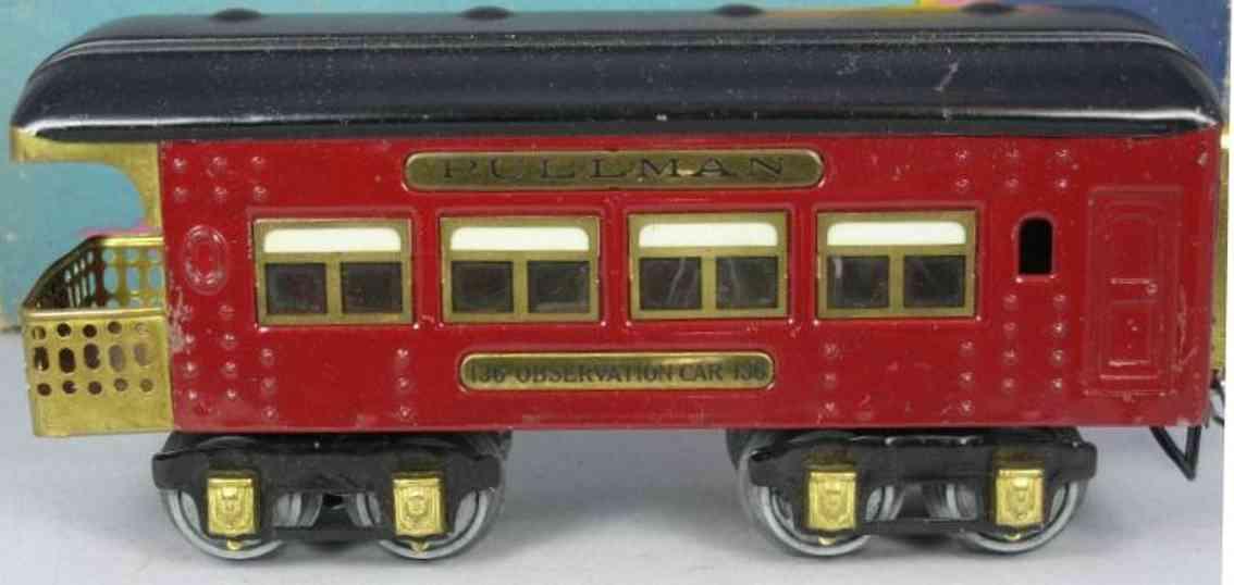 ives 136 (1929) spielzeug eisenbahn personenwagen personenwagen; 4-achsig; rot lithografiert mit nieten, schwa