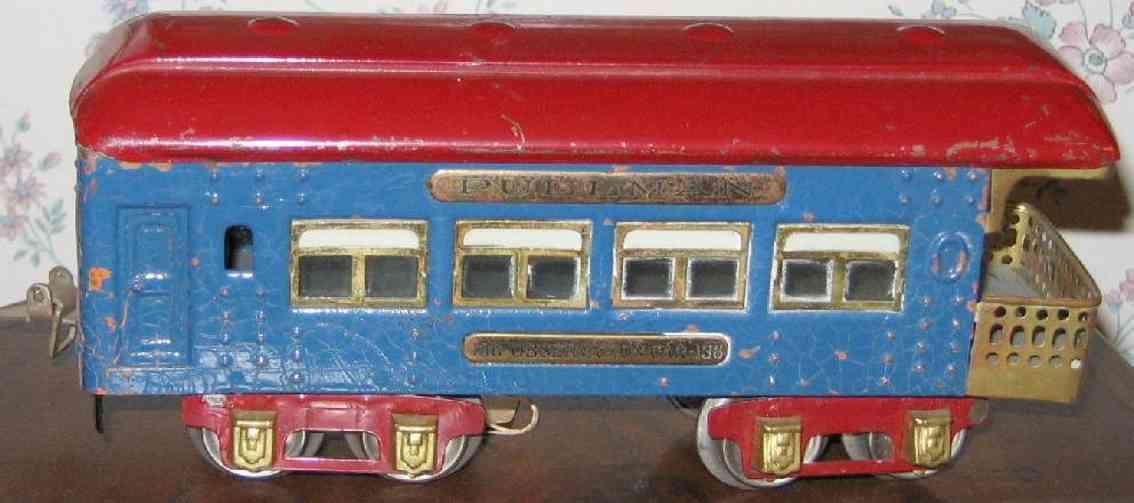 ives 136 (1930) spielzeug eisenbahn personenwagen personenwagen; 4-achsig; blau lithografiert mit nieten, rote