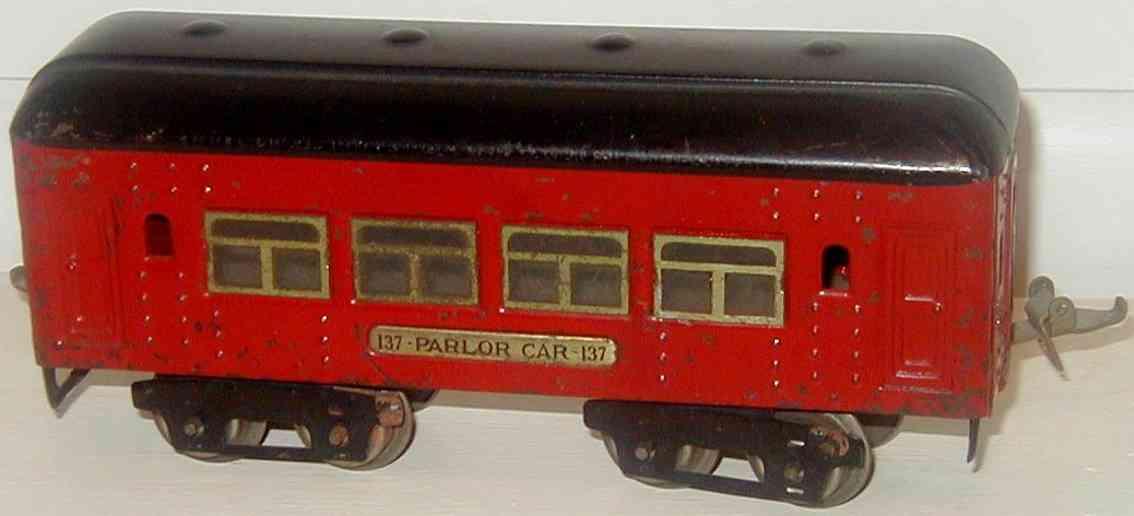 ives 137 (1928) spielzeug eisenbahn personenwagen personenwagen; 4-achsig; rot lithografiert mit nieten, scwar