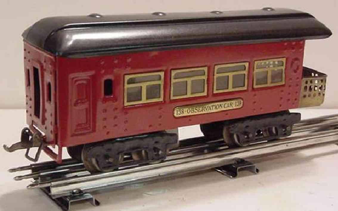 ives 138 (1928) spielzeug eisenbahn personenwagen personenwagen; 4-achsig; rot lithografiert mit nieten, scwar