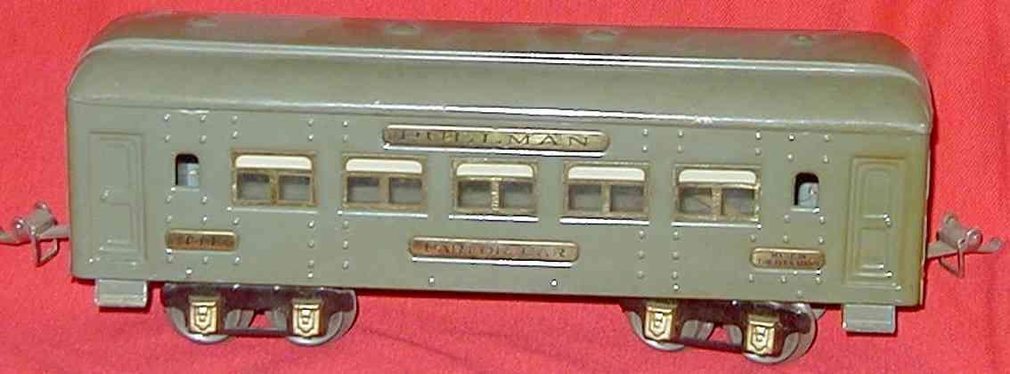 ives 141 (1926) spielzeug eisenbahn personenwagen personenwagen; 4-achsig;  grau lithografiert mit nieten, dac