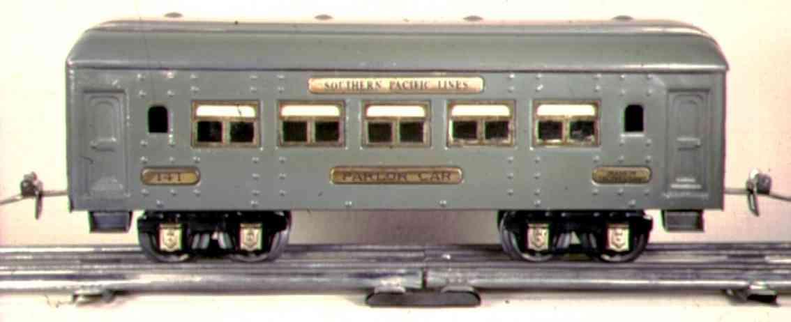 ives 141 (1927) spielzeug eisenbahn personenwagen personenwagen; 4-achsig;  grau lithografiert mit nieten, dac