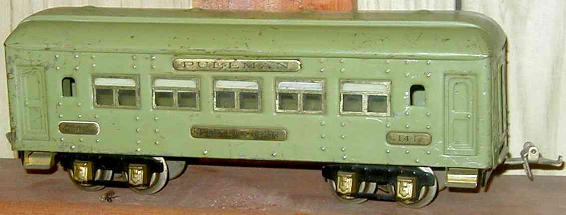 ives 141 (1928) spielzeug eisenbahn personenwagen personenwagen; 4-achsig;  grün lithografiert mit nieten, dac