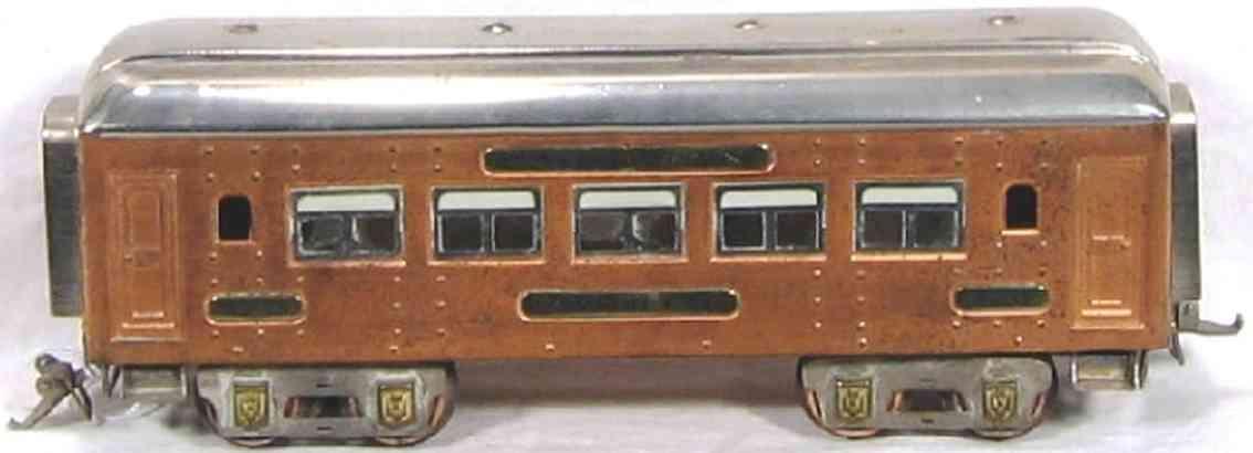 ives 141 (1929) spielzeug eisenbahn personenwagen personenwagen; 4-achsig;  kupferfarben lithografiert mit nie