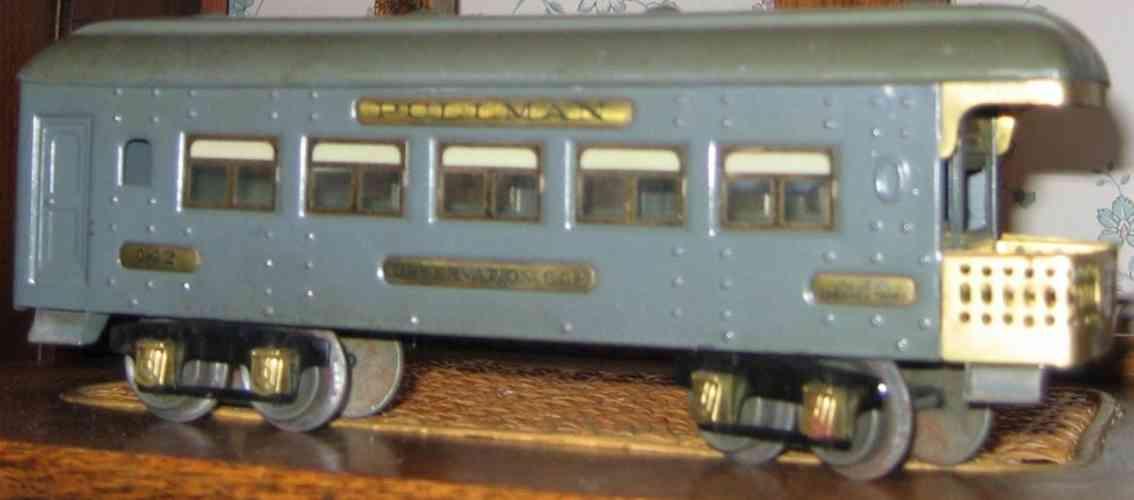ives 142 (1926) spielzeug eisenbahn personenwagen personenwagen; 4-achsig;  grau lithografiert mit nieten, dac