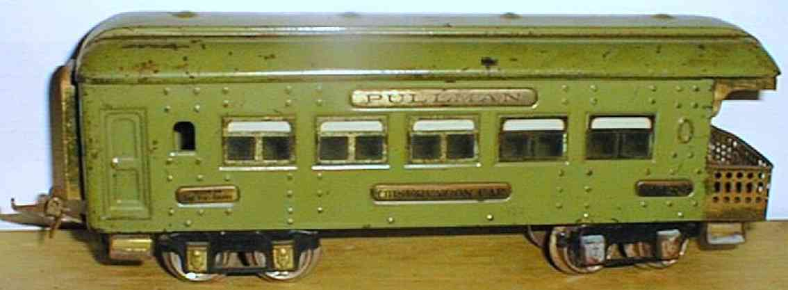 ives 142 (1928) spielzeug eisenbahn personenwagen personenwagen; 4-achsig;  grün lithografiert mit nieten, dac