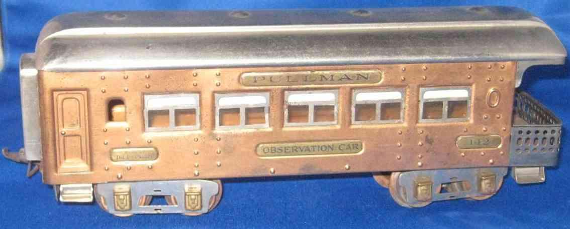 ives 142 (1929) spielzeug eisenbahn personenwagen personenwagen; 4-achsig;  kupferfarben lithografiert mit nie