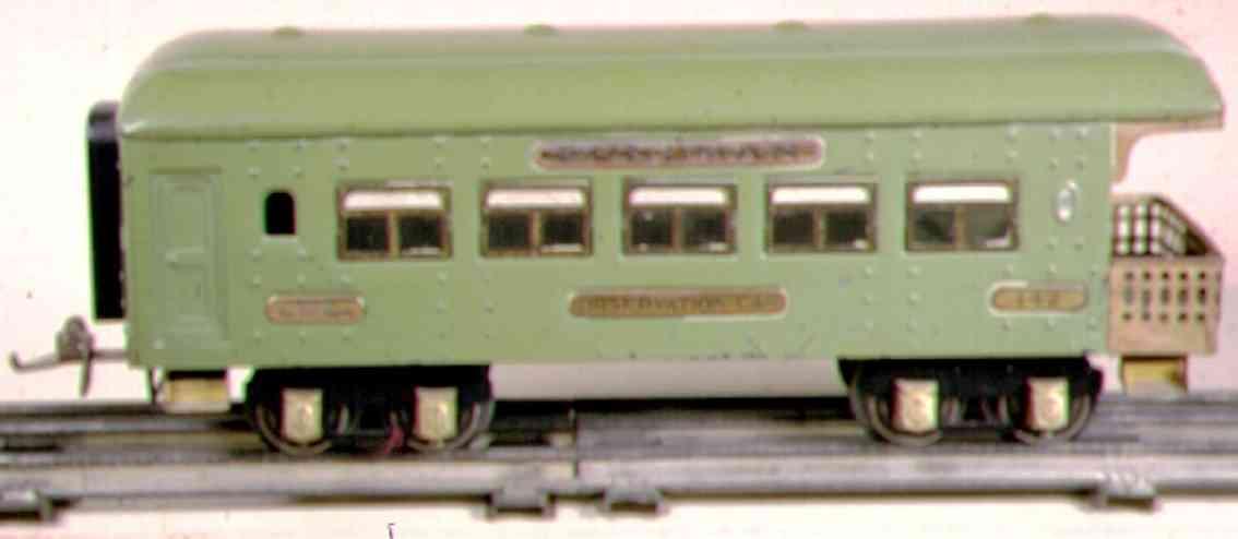 ives 142 (1929) spielzeug eisenbahn personenwagen personenwagen; 4-achsig;  smaragdgrün lithografiert mit niet