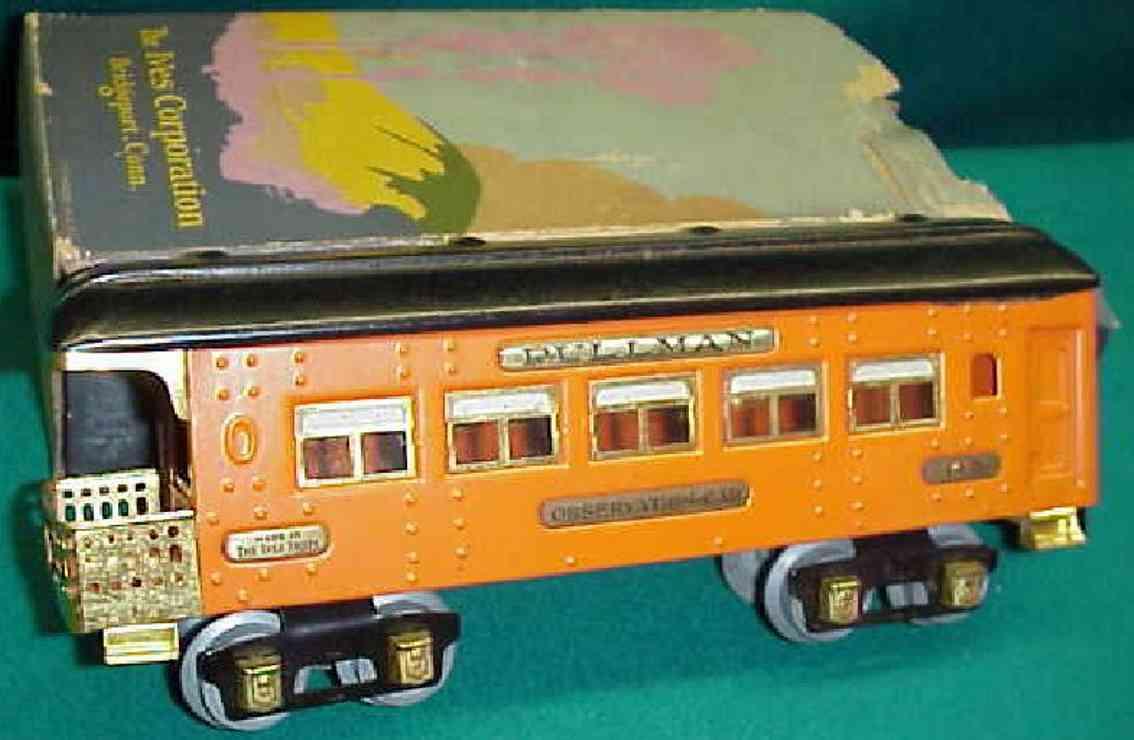 ives 142 (1930) spielzeug eisenbahn personenwagen personenwagen; 4-achsig;  orangerfarben lithografiert mit ni