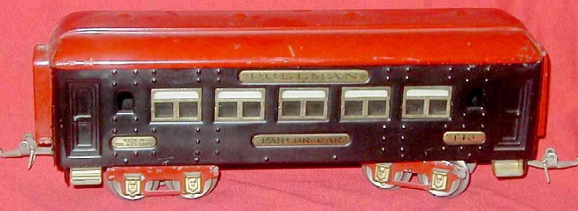 ives 143 (1928) spielzeug eisenbahn personenwagen personenwagen; 4-achsig;  lithografiert mit nieten, dach mit