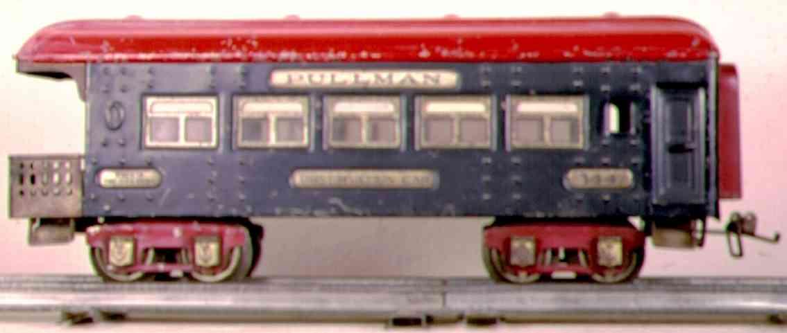 ives 144 (1928) spielzeug eisenbahn personenwagen personenwagen; 4-achsig;  schwarz oder gesprenketl grau lith