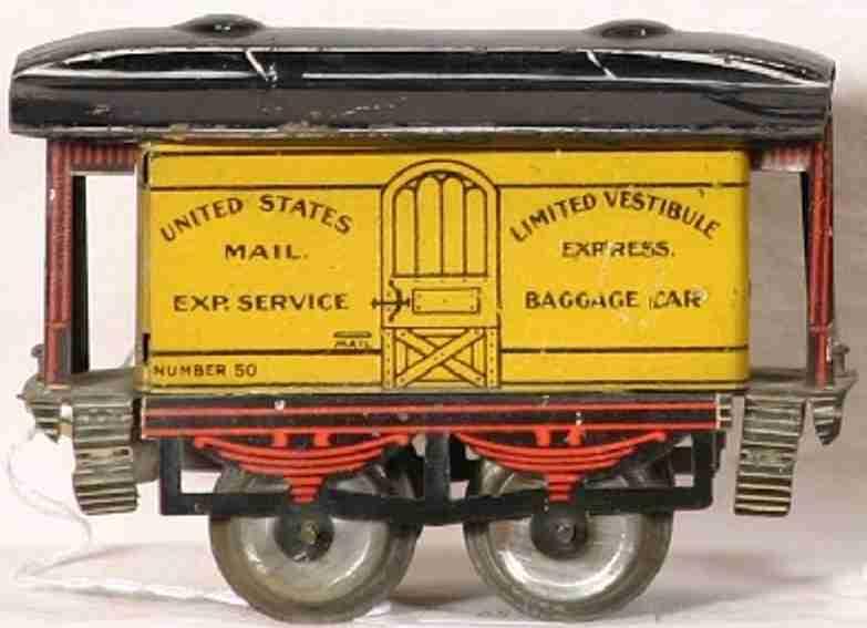 ives 50 1905 spielzeug eisenbahn gepaeckwagen rot gelb united states mail ep service spur 0