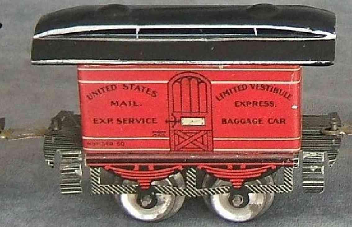 ives 50 1902 spielzeug gepaeckwagen rot schwarz united states mail spur 0